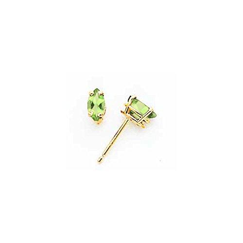 14k 6x3mm Marquise Peridot earring