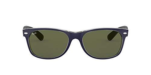 Ray-Ban RB2132 New Wayfarer Sunglasses, Military Blue & Green/Green, 52 mm (Arten Von Rayban Wayfarers)