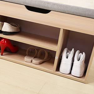 Estanter/ía para Zapatos Banco de Almacenamiento Zapatos con 2 estantes para Entrada Gris BHEU-M018-GY sogesfurniture Banco de Armario Zapater/ía con Asiento Acolchado