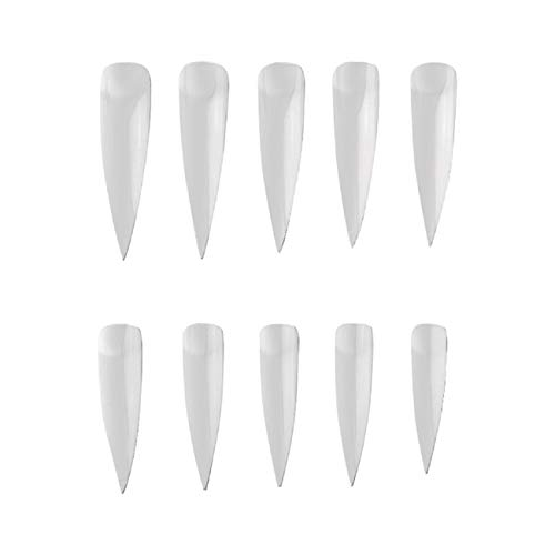 False Nail Tip, Putars 500pcs Lady French Style Artificial False Nails Half Tips & Box Nail Tip Long Salon Fake Nail Piece Finished Half Stick Art Long Nail -
