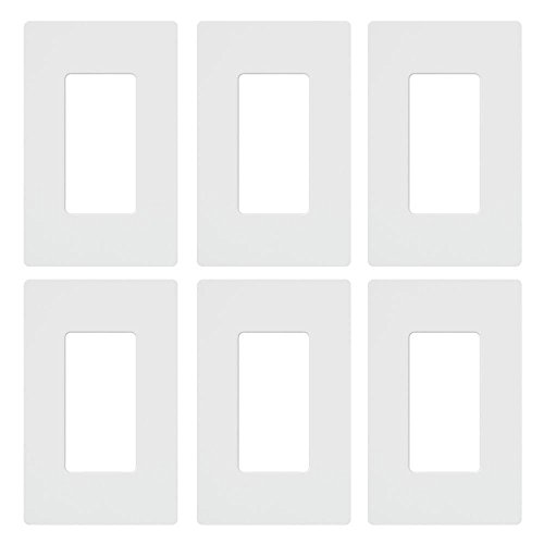 Wall Plate Outlet Single (Lutron Claro 1 Gang Decorator Wallplate (6-Pack), CW-1-WH-6, White)
