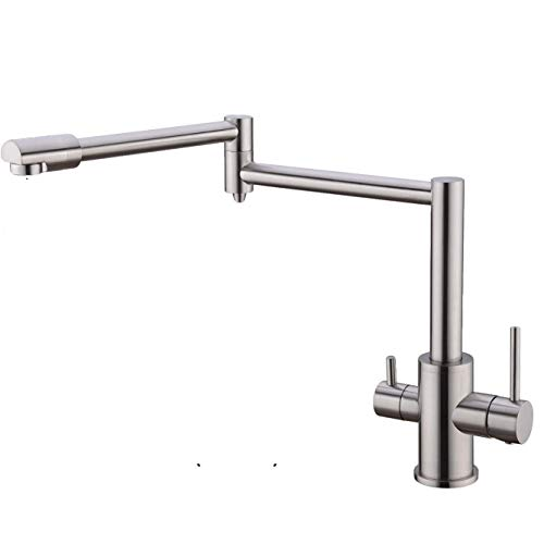 107 Mount Deck Stainless Steel - Pot Filler Folding Kitchen Faucet with Drinking Water Faucet Stretchable Double Joint Swing Arm Deck Mount Single Hole Two Handles Brass Brushed Nickel
