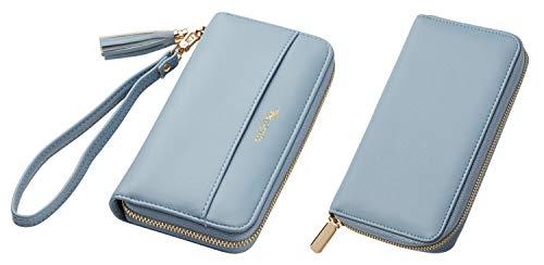 Travelambo Womens Wallet Tassel Bifold Ladies Cluth Wristlet Wrist strap Long Purse (Access Blue Sale)