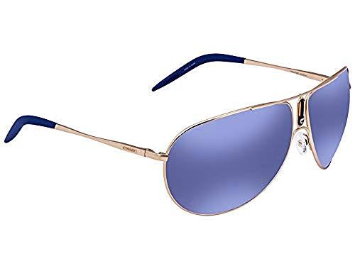 Carrera Gipsy/S Sunglasses GIPSYS-0AOZ-XT-6411 - Semi Matte Gold Frame, Blue Sky Miror Lenses,