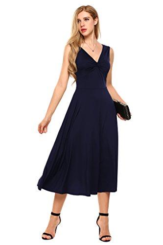Meaneor Damen Elegant Shirtkleid ohne Ärmel V-Ausschnitt Sommerkleid  Abendkleid Festlich Swing Wickelkleid Wadenlang Dunkelblau ... f519e35a98