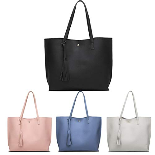 Women Girls Tassels Leather Tote Shoulder Bags Satchel Handbags Large Laptop Purses (Pink)
