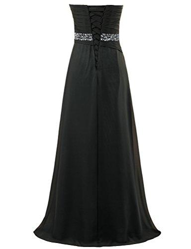 Fourmis Perle Sans Bretelles De Femmes Robes De Bal En Mousseline De Soie De Noir De Robe Longue Partie