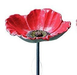 - Benba brand Cast Iron poppy bird bath for Garden decorative feeders