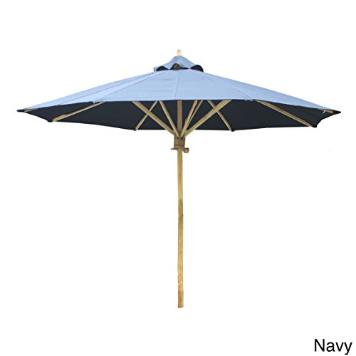 Zew 7 ft. Wooden Solid Market Umbrella with Base 7 Wooden Market Umbrella
