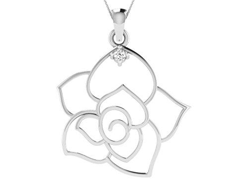 Or Blanc 18 ct Pendentifs Diamant en forme de Fleur, 0.08 Ct Diamant, GH-SI, 1.64 grammes.