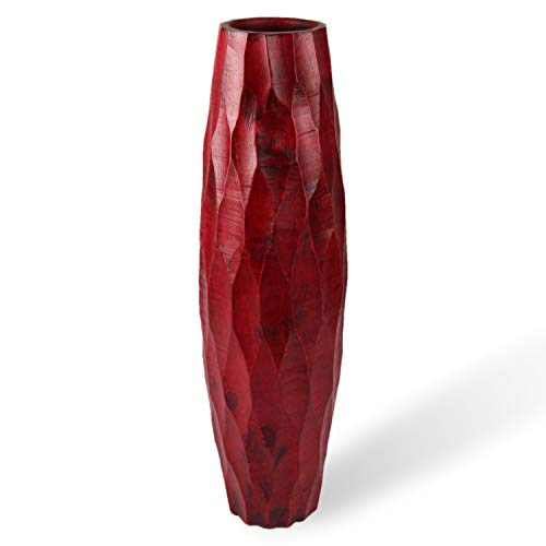 roro Handcarved Textured Wood Vase, Cherry Red 14 Inch -