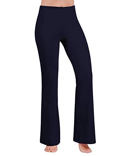 ODODOS Women's Boot-Cut Yoga Pants Tummy Control Workout Non See-Through Bootleg Yoga Pants,Navy,Large