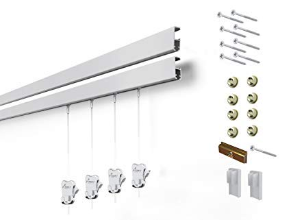 8 Hanging Components STAS Cliprail Pro Picture Hanging System Kit- Heavy Duty Track and Art Hanging Gallery Kit for Home, Office or Public Space (4 Rails 8 Hooks and Cords, Matte Silver Rails) by Stas Picture Hanging Systems (Image #4)