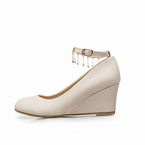 Charm Foot Womens Strass Cinturino Alla Caviglia Con Zeppa Tacco Medio Scarpe Beige