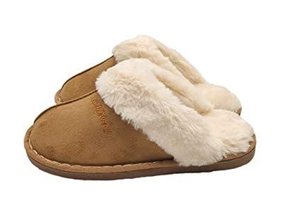 SincereWay Women's Cozy Bedroom Slippers Fuzzy House Outdoor Slippers (Tan,41-42)