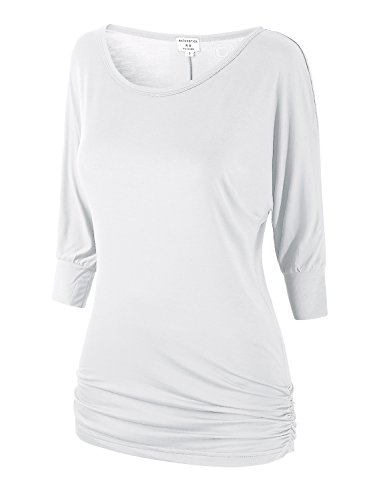 Match Women's 3/4 Sleeve Drape Top with Side Shirring (140 White,Small) by Match