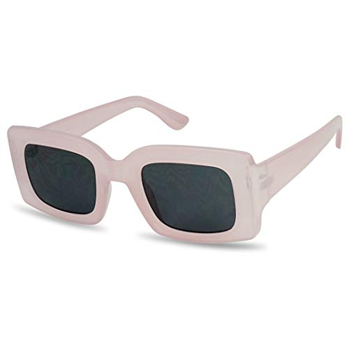 SunglassUP Chunky 1970's Vintage Boxed Square Sunglasses (Pastel Pink Frame | Black) ()
