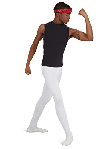 Capezio Men's Footed Tight, White, Medium by Capezio