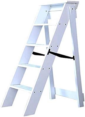 SED Escaleras de Uso Múltiple para el Hogar, Escalera Interior Escaleras para Sillas Taburete con Peldaños Escalera Plegable de Madera Escalera Engrosadora Escalera de Cinco Escalones Decoración Pabe: Amazon.es: Bricolaje y herramientas