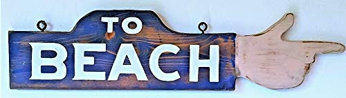 to Beach Hand Painted Finger Pointing Handmade Wood Sign Points Left or Right … For Sale
