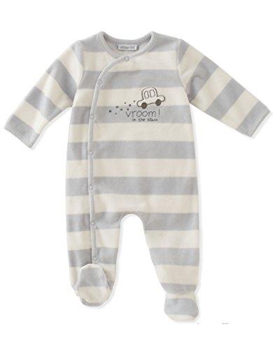 ABSORBA Baby Boys' Velour Footie, Silver Shepard, 3-6 Months
