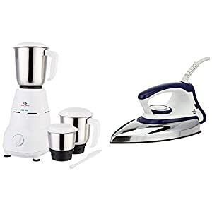 Bajaj Rex 500-Watt Mixer Grinder with 3 Jars, White + DX 7 1000-Watt Dry Iron