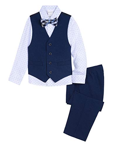 Van Heusen Boys' Toddler 4-Piece Formal Bow Tie Vest Set, Academy Poplin Blue 3T -