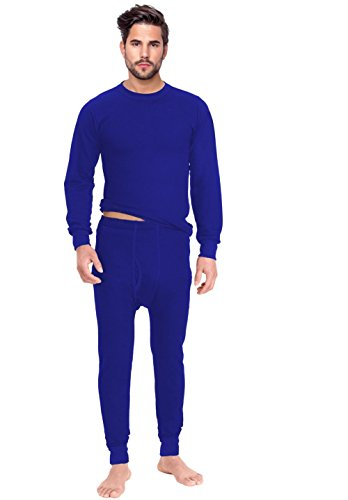 Rocky Men's Thermal 2pc Set Long John Underwear (M, Royal Blue) (Thermal Underwear Blue)