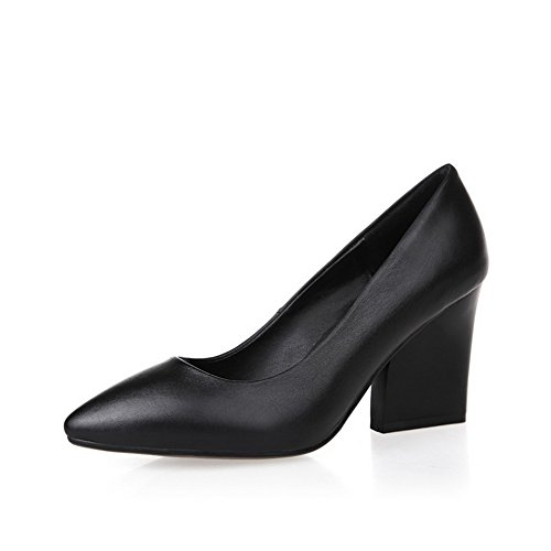 AdeeSu Womens Dress Pointed-Toe Light-Weight No-Closure Pleather Pumps Shoes SDC03382 Black