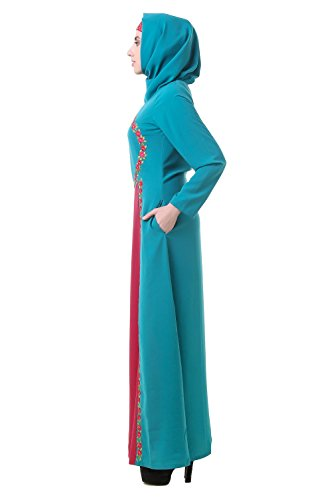hijab verde abaya burqa AY vestito MyBatua e rosa jilbab abbigliamento 623 con musulmano islamico maxi 4zdEdw