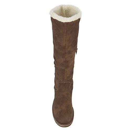 Stiefelparadies Damen Warm Gefütterte Stiefel Winterstiefel Schnallen Kunstfell Winter Boots Damenschuhe Profilsohle Bommel Booties Schuhe Flandell Khaki Agueda