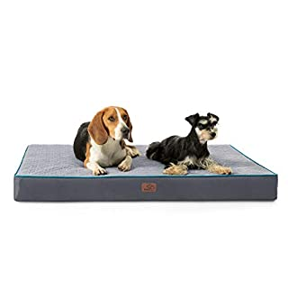 Bedsure XL Orthopedic Memory Foam Extra Large Jumbo Dog Bed - for Small, Medium, Large Dogs, 2-Layer Pet Mat with Removable Washable Cover, Extra Large Dog Bed (44x32x4 Inches), Grey