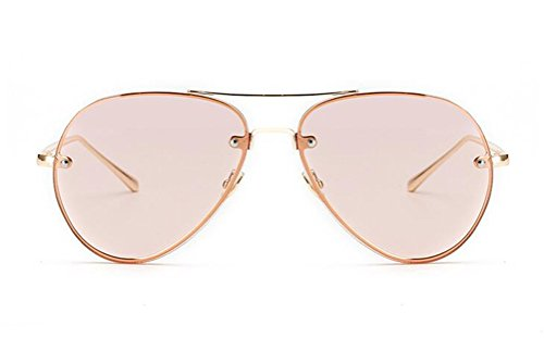 GAMT Fashion Aviator Style Sunglasses For Women Metal Frame Colored Lens - Rose Lenses Coloured