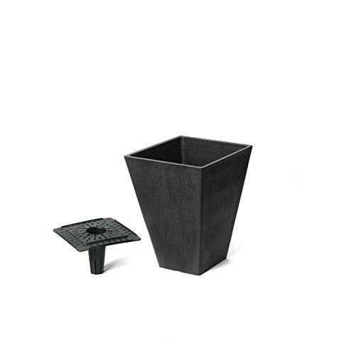 Algreen Valencia | 13'' Square Planter with Self-Watering Tray | Matte Black by Algreen