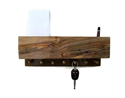 Dark Maple Wood Wall Mail and Key Holder