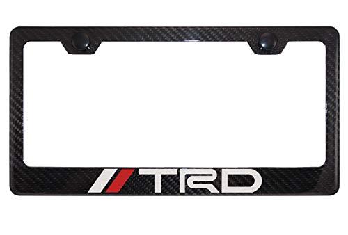 - TRD Gloss Black Carbon Fiber License Plate Frame with Cap