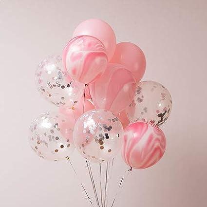 Baby Balloon Set Silver Confetti Balloons Pink and Silver Balloons Silver Wedding Balloons Engagement Balloons Pink Balloons