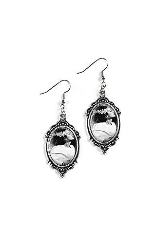 Bride of Frankenstein 18x25mm Cameo Glass Silver Filigree Earrings (Frankenstein Cabochon)