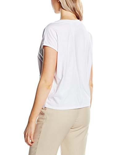 S.Oliver Denim Mit Lochspitze, Camiseta para Mujer Blanco (white 0100)