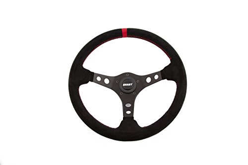 - Grant 695 Suede Wrapped Racing Steering Wheel with Red Top Marker