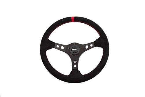 Wheel Racer Steering - Grant 695 Suede Wrapped Racing Steering Wheel with Red Top Marker