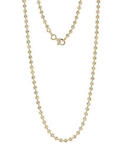 925 Sterling SIlver 3mm Moon Cut Bead Chain Necklace- Perfect for pendants or alone-Made in Italy (Gold, 20)
