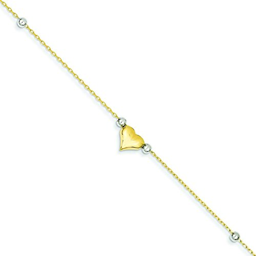 14K Gold Two Tone Polished Puffed Heart With Beads Anklet Chain Jewelry 10""