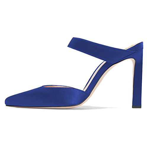 Fsj Damesmode Satijnen Puntzand Sandalen Stiletto Hoge Hakken Mules Slip-on Schoenen Maat 4-15 Us Royal Blue