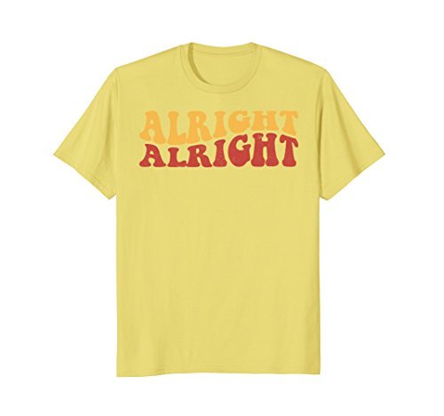 Mens Alright Alright Shirt Funny Vintage 70s Tee Large (Halloween Movie Font)