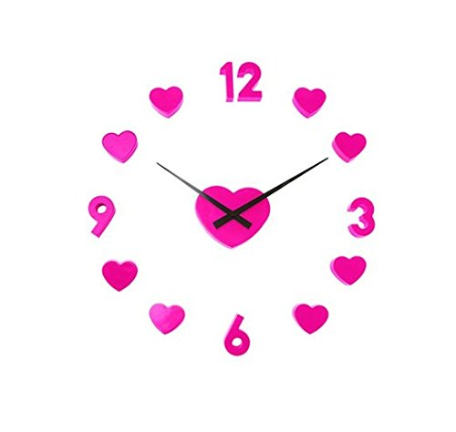 [Wall clock Love Pink Unique Decorative Round Clock modern Get unique living room, bedroom or nursery wall decor - Gift ideas for adults and youth Art AA] (Last Minute Costume Ideas Diy)