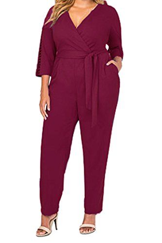 Fixmatti Womens Oversized Slim Belted One Piece Long Romper Jumpsuit XXXL Ruby