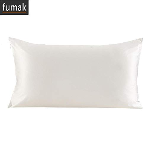 (fumak Blissy Silk Pillowcase - 100 Silk Pillowcase Hair with Hidden Zipper 19 Momme Terse Color for Women Men Kids Girls (4-Ivory, 40x60cm))