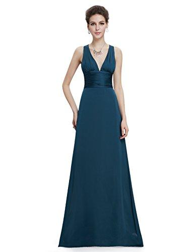 HE09008MG14, Malachite Green, 12US, Ever Pretty Trailing V-neck Ruffles Cross Back Empire Waist Bridesmaid Dress 09008