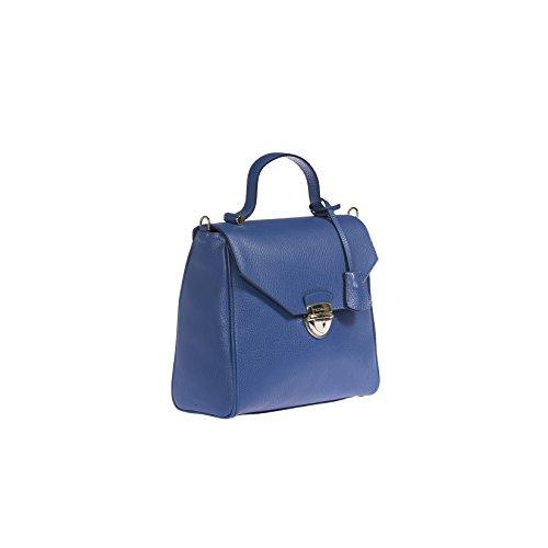 Trussardi mujeres bolso de cuero de dólar genuino, 100% Becerro - 27x27x12 Cm Azul
